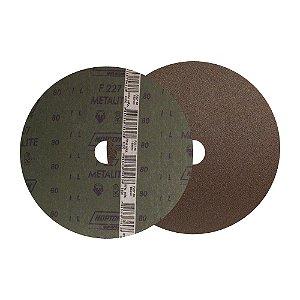 Caixa com 100 Disco de Lixa Fibra Metalite F227 Grão 80 180 x 22 mm
