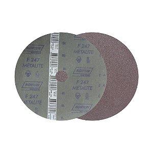 Caixa com 100 Disco de Lixa Fibra Metalite F247 Grão 80 180 x 22 mm