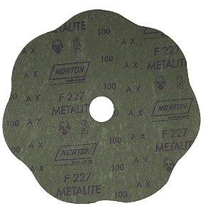 Disco de Lixa Fibra Rosete F227 Grão 100 180 x 22 mm Caixa com 100