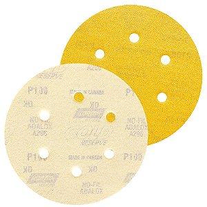Caixa com 100 Disco de Lixa Pluma A296 Gold com 6 Furos Grão 100 152 x 0 x 6 mm