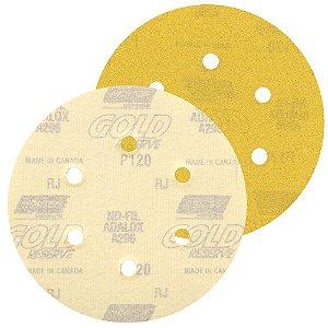Disco de Lixa Pluma A296 Gold com 6 Furos Grão 120 152 x 0 x 6 mm Caixa com 100