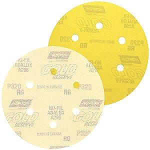 Disco de Lixa Pluma A296 Gold com 6 Furos Grão 320 152 x 0 x 6 mm Caixa com 100