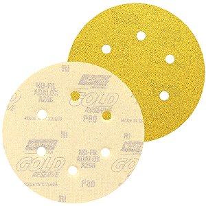 Caixa com 100 Disco de Lixa Pluma A296 Gold com 6 Furos Grão 80 152 x 0 x 6 mm