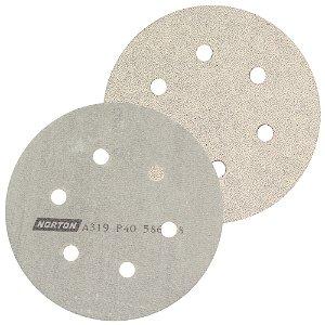Caixa com 50 Discos de Lixa Pluma A319 com 6 Furos Grão 40 152 x 0 x 6 mm