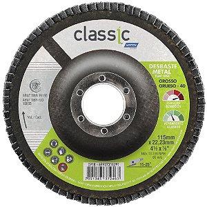 Disco Flap Classic R801 Grão 40 115 x 22,23 mm Caixa com 10