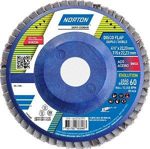 Caixa com 10 Disco Flap Evolution R822 Grão 60 115 x 22,23 mm