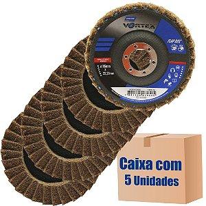 Caixa com 5 Disco Flap Vortex Grosso Marrom 115 x 22 mm