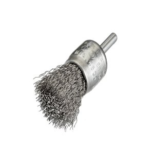 Caixa com 12 Escova de Aço D25 Aço Pincel Ondulado 030 T30 Baixa Rotação 17 x 06 mm com Haste