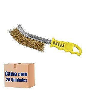 Caixa com 24 Escova de Aço Manual Universal - Latão