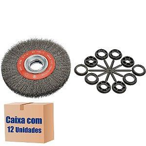 Caixa com 12 Escova Rotativa Ondulada D150 Aço 030 A18 R51 150 x 18 x 51 mm