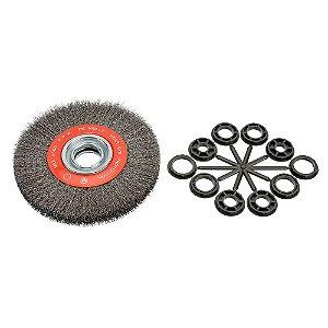 Escova Rotativa Ondulada D200 Aço 030 A25 R80 200 x 25 x 80 mm Caixa com 10