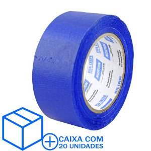 Caixa com 20 Fita Crepe Uso Geral Premium Azul 48 x 50 m