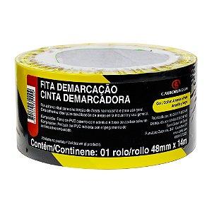 Fita PVC Amarela/Preta Demarcação Solo e Sinalização 48 x 14 m Caixa com 10