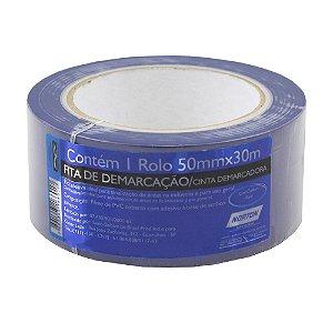 Caixa com 8 Fita PVC Azul Demarcação Solo e Sinalização 50 x 30 m