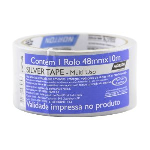 Caixa com 10 Fita Silver Tape Prata 48 x 10 m