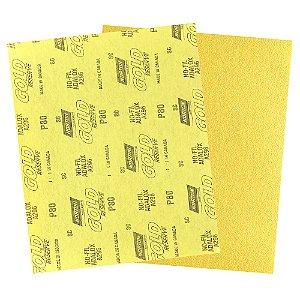 Folha de Lixa A296 Gold Grão 80 230 x 280 mm Pacote com 200