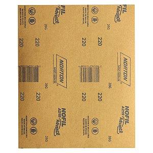 Pacote com 500 Folha de Lixa Madeira Laca e Verniz A219 Nofil Grão 220 225 x 275 mm