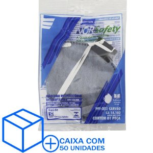 Caixa com 50 Máscara Descartável Norsafety Pro PFF2 Carvão Ativo S/Válvula