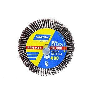 Roda de Lixa Flap PG Mini Kontour MK com Haste R319 Grão 80 50 x 25 mm Caixa com 24