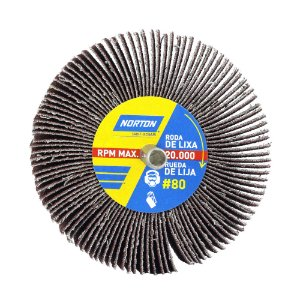Caixa com 12 Roda de Lixa Flap PG Mini Kontour MK com Haste R319 Grão 80 75 x 25 mm