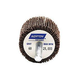 Caixa com 10 Roda de Lixa Flap PG Mini Kontour MK com Haste R369 Grão 60 38 x 25 mm