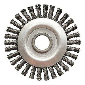 Escova de Aço Circular Trançada - Inox 114,3 x 12,7 mm Caixa com 10