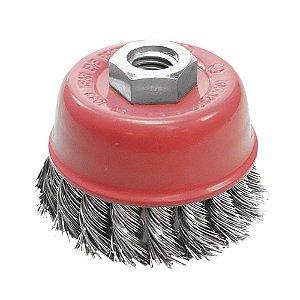Escova de Aço Copo Trançada Temperado 50x100 mm Caixa com 10