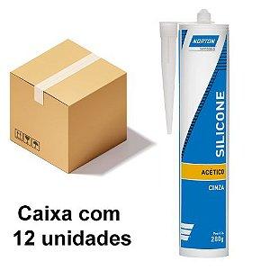 Caixa com 12 Silicone Acético Cinza 280 g