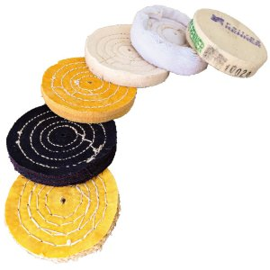 kit Disco para Polimento 100 mm- Feltro - Algodão - Algodão Amarelo - Flanela Branca - Brim - Sisal Compacto