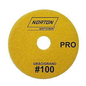 Disco de Lixa Diamantada Flexível Brilho D'Água Norton  PRO Grão 100 - 100 x 20 mm