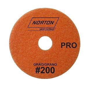 Disco de Lixa Diamantada Flexível Brilho D'Água Norton  PRO Grão 200 - 100 x 20 mm