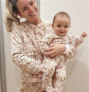 Pijama infantil Ursinhos marrom
