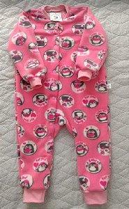 Macacão Micro Soft Pinguim Rosa