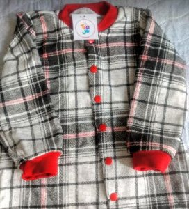 Pijama infantil Moletinho Xadrez Vermelho