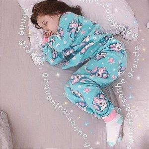 Pijama infantil Unicórnio verde água
