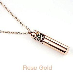 Colar Aromático de Aço Inox - CILINDRO GOLD ROSÉ - Detalhe Coração