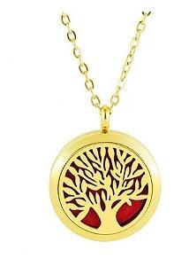 Colar Aromático de Aço - Árvore da Vida - Dourado - 25mm (Tamanho M)
