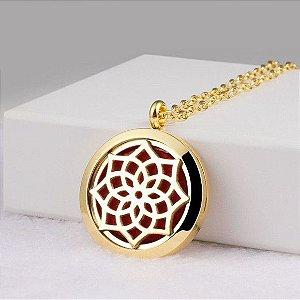 Colar Aromático de Aço - Mandala - Dourado - 25mm (Tamanho M)