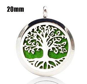 Colar Aromático de Aço - Árvore da Vida - Prata - 20mm (Tamanho P)