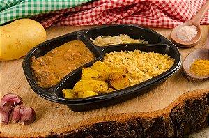 Strogonoff de carne, repolho, batata assada e arroz integral temperado 380g