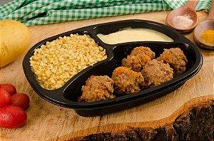 Almôndega de Carne com purê de batata e arroz integral 390g