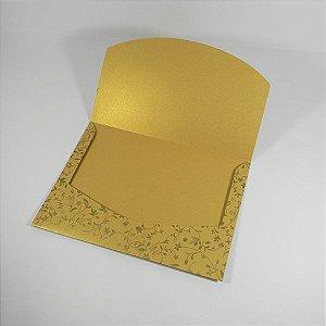 Envelope Dourado com estampa floral 03 Mod.EN1700 - 15x21cm