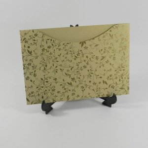 Envelope Bege com estampa dourada Floral 03 Mod.EN1500 - 15,5x21cm