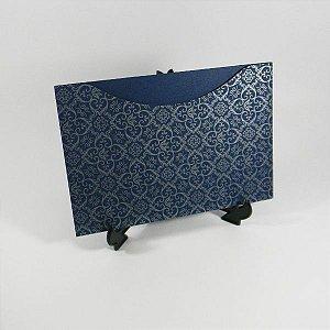Envelope Azul com estampa adamascado prata Mod.EN1500 - 15,5x21cm
