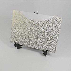 Envelope Branco com Adamascado Dourado Mod.EN1500 - 15,5x21cm