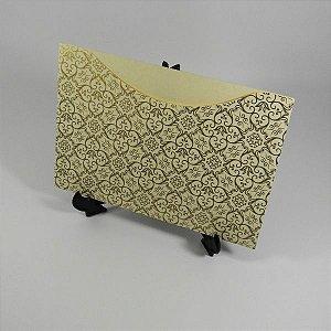 Envelope Bege com Adamascado Dourado Mod.EN1500 - 15,5x21cm