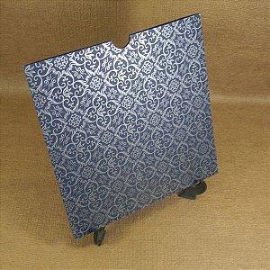 Envelope Azul com estampa adamascado prata Mod.EN2100 - 20x20cm