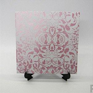 Envelope Branco com Floral Rosa Metalizado 01 Mod.EN2100 - 20x20cm