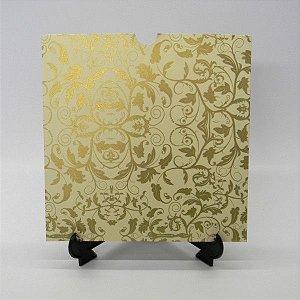Envelope Marfim com Floral Dourado 01 Mod.EN2100 - 20x20cm