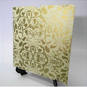 Envelope Champanhe com floral Dourado Mod.EN2100 - 20x20cm